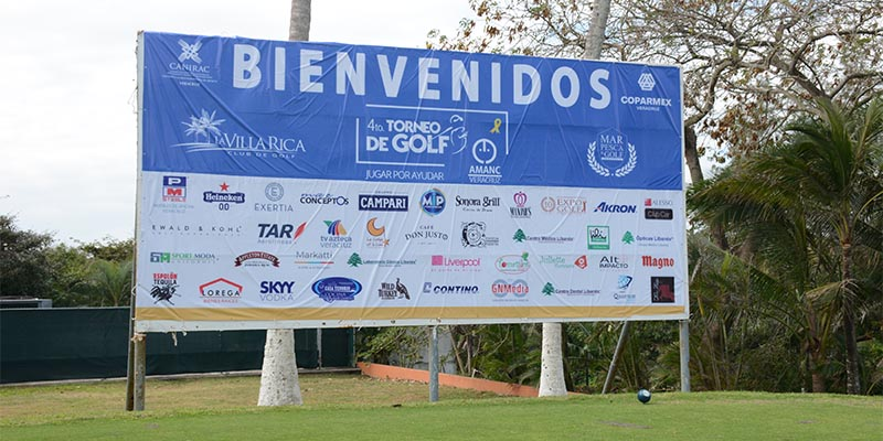 Cartel de bienvenida del torneo de golf Villa Rica Veracruz
