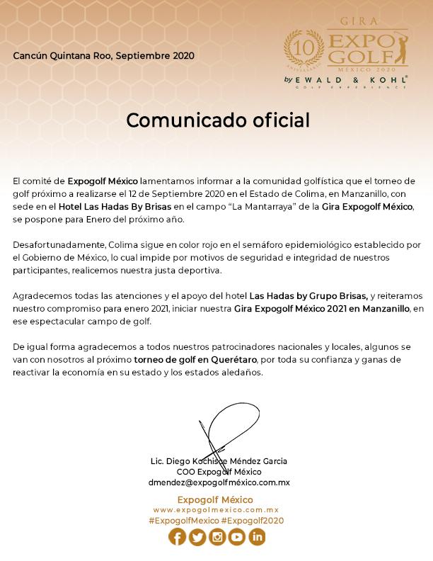 Comunicado oficial de Expogolf México